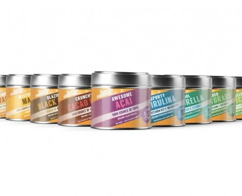 Superfoodies Tins - Packaging design by Arnott Design